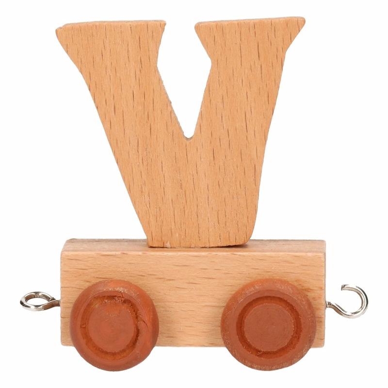 Houten namen treintje letter V