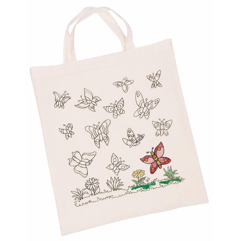 Inkleurbaar tasje met vlinder motief 38 x 42 cm