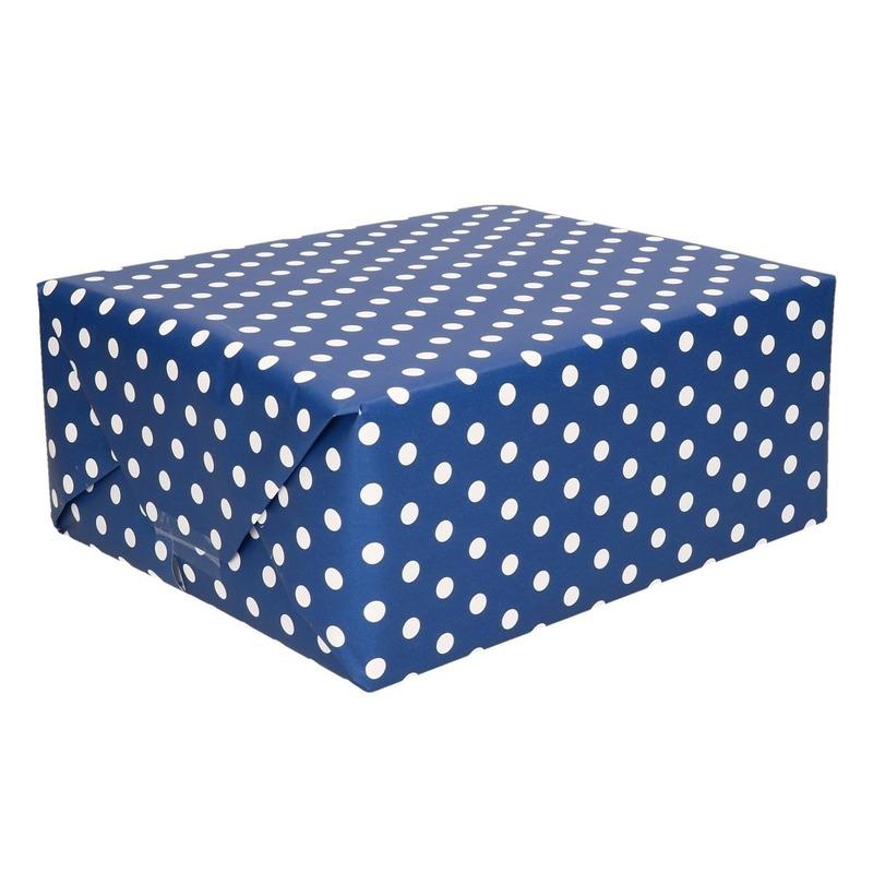 Inpakpapier/cadeaupapier blauw met witte stippen 200 x 70 cm rol