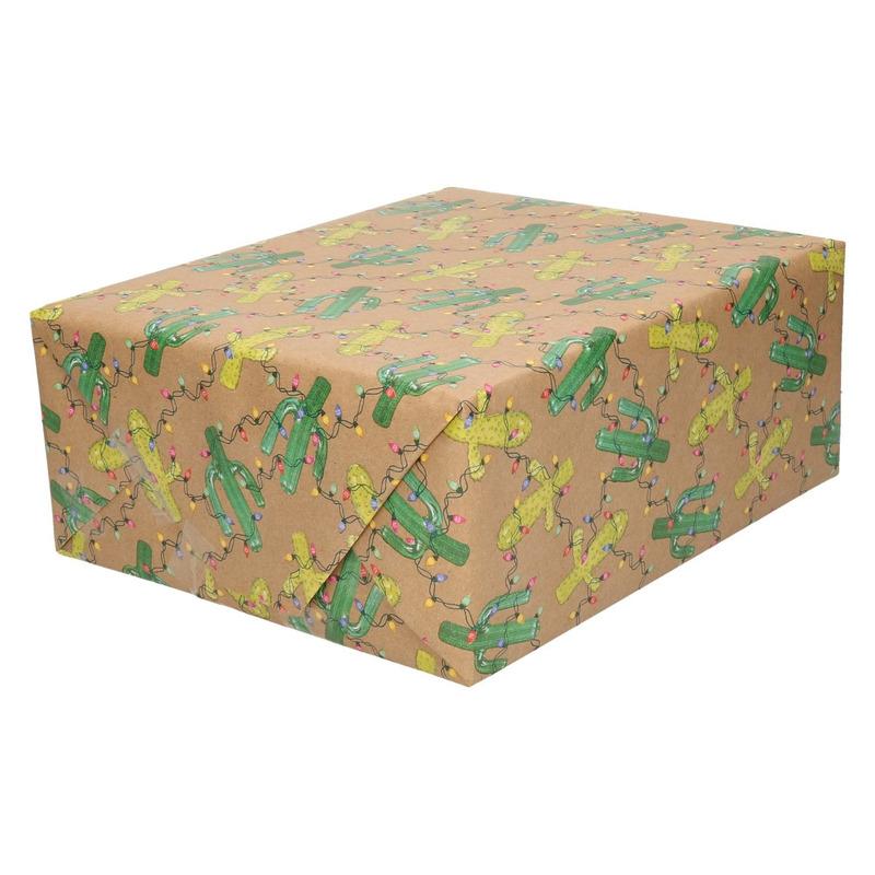 Inpakpapier-cadeaupapier bruin cactus met lichtjes 200 x 70 cm