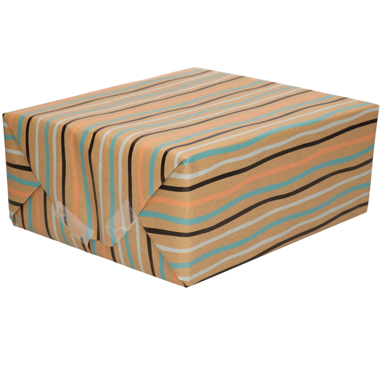 Inpakpapier/cadeaupapier bruin gekleurde strepen print 200 x 70 cm op rol