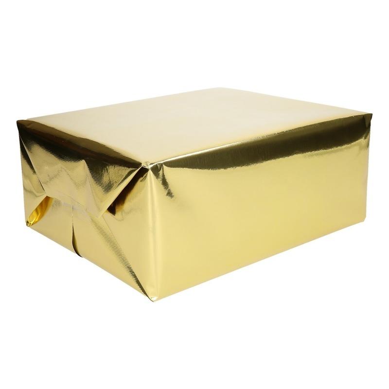 Inpakpapier/cadeaupapier goud metallic 400 x 50 cm op rol
