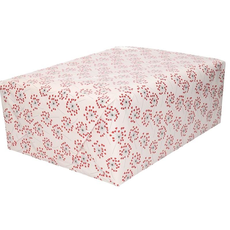 Inpakpapier/cadeaupapier hartjes print 200 x 70 cm rol