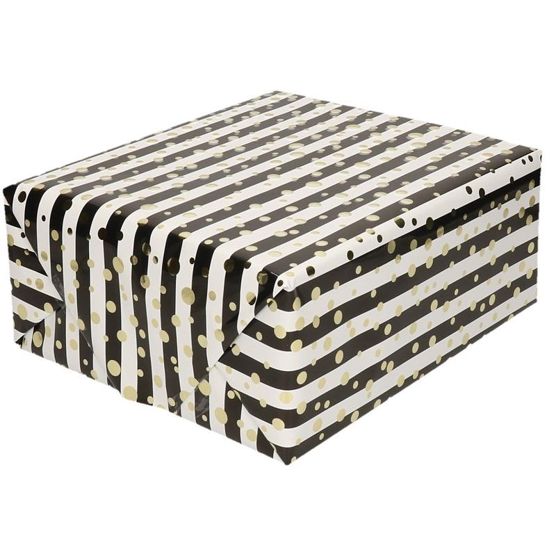 Inpakpapier/cadeaupapier metallic goud/zwart/wit 150 x 70 cm