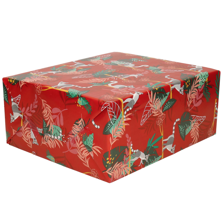 Inpakpapier/cadeaupapier rood met ringstaartmaki design print 200 x 70 cm