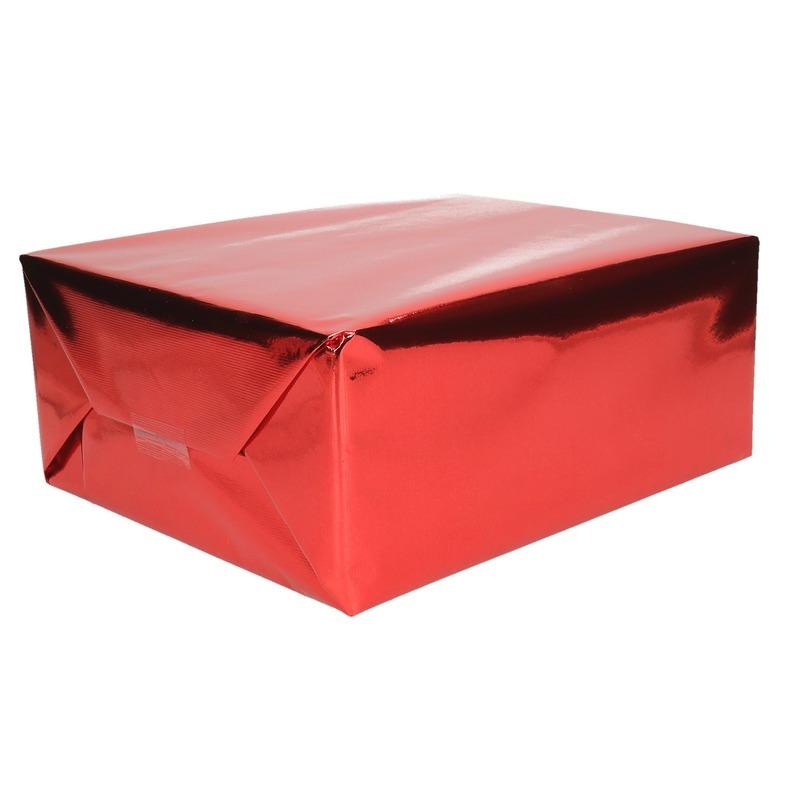 Inpakpapier/cadeaupapier rood metallic 400 x 50 cm op rol