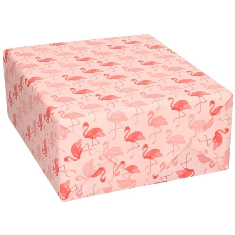 Inpakpapier/cadeaupapier roze flamingos print 200 x 70 cm