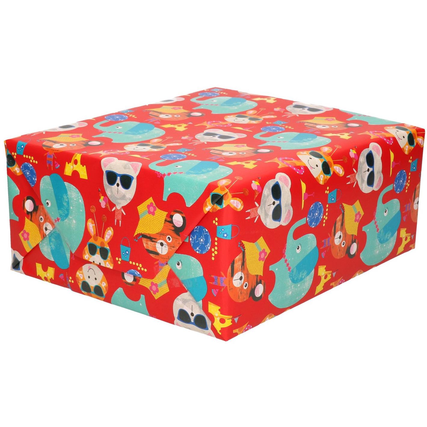 Inpakpapier kinder verjaardag met olifanten/poezen 200 x 70 cm