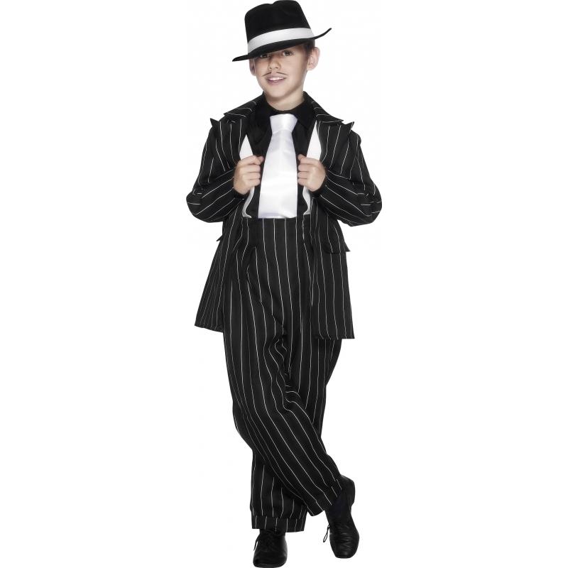 Jongens gangster kostuum zwart