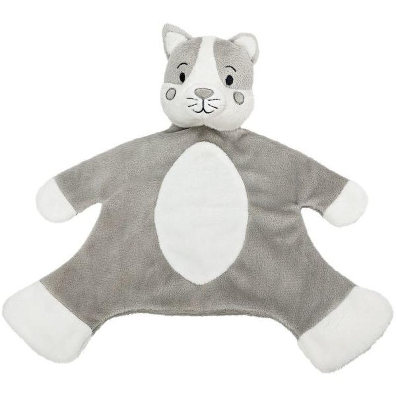 Katten speelgoed artikelen kat/poes tuttel/knuffeldoek knuffelbeest grijs/wit 36 cm