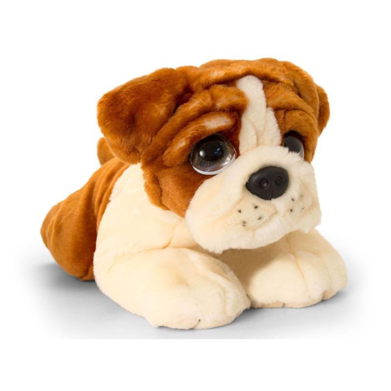Keel Toys pluche bruin/witte Bulldog honden knuffel 37 cm