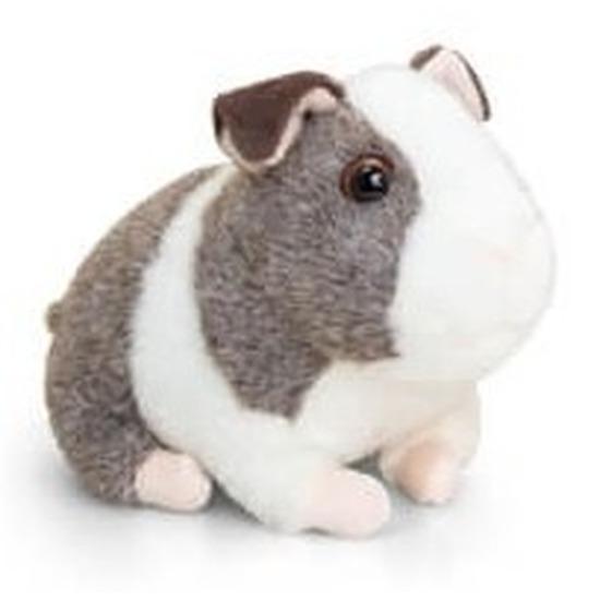 Keel Toys pluche cavia knuffel grijs/wit met geluid 16 cm