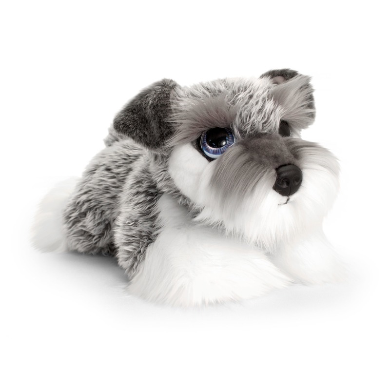 Keel Toys pluche grijs/witte Schnauzer honden knuffel 32 cm