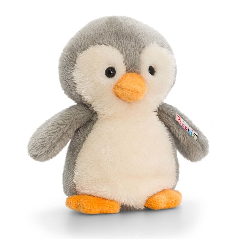 Keel Toys pluche pinguin knuffel grijs/wit 14 cm