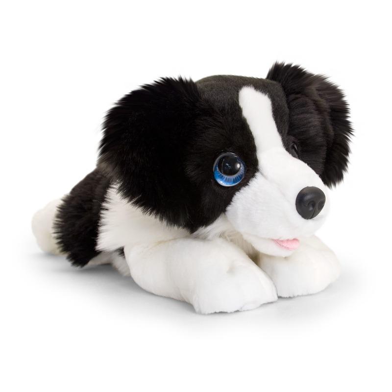 Keel Toys pluche zwart/witte Border collie honden knuffel 37 cm