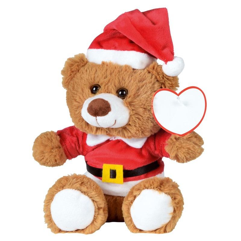 Kerst knuffel pluche beer bruin zittend 18 x 19 cm speelgoed