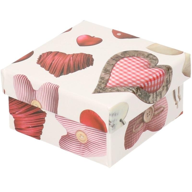Kerstversiering kadodoosje/cadeaudoosje rood/wit 12 cm