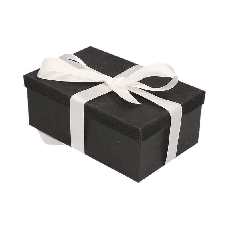 Kerstversiering kadodoosje/cadeaudoosje zwart/glitter 7 cm met wit lint