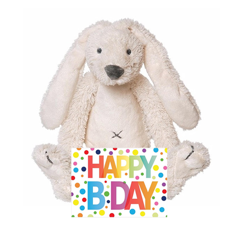 Kinder cadeau knuffel konijn met Happy birthday wenskaart