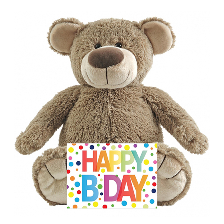 Kinder cadeau knuffelbeer met Happy birthday wenskaart
