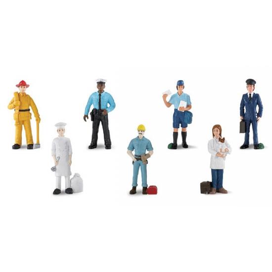 Kinder speelgoed poppetjes in werkkleding