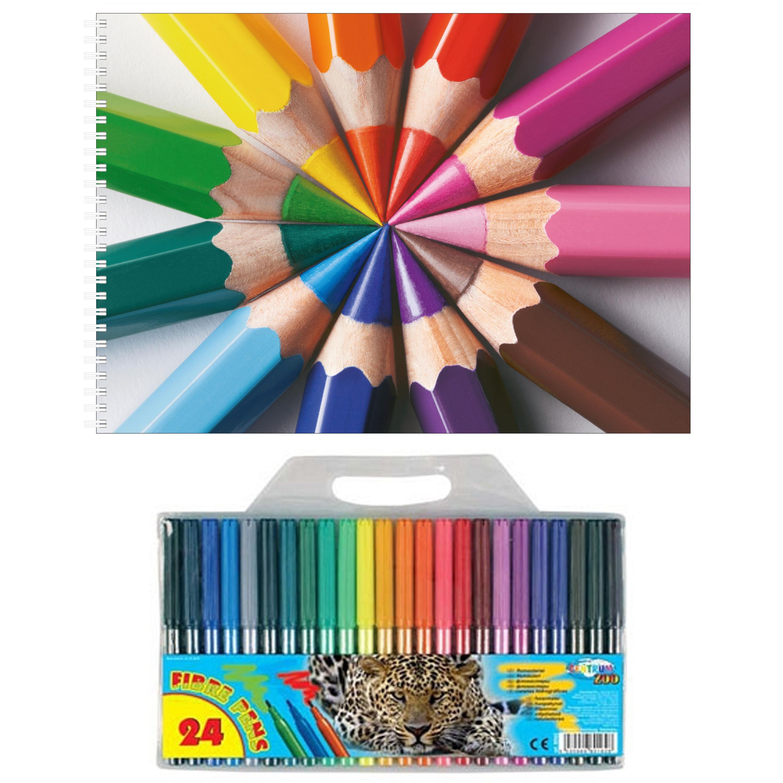 Kinder tekenen set van 24 viltstiften en 2x schetsboeken