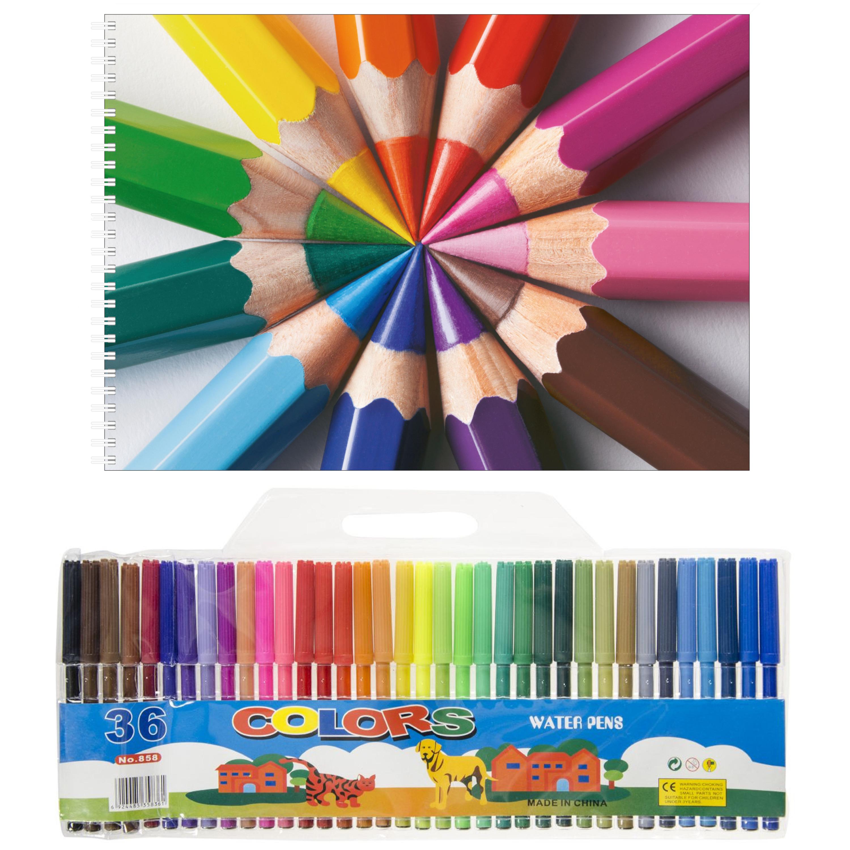Kinder tekenen set van 36 viltstiften en 2x schetsboeken