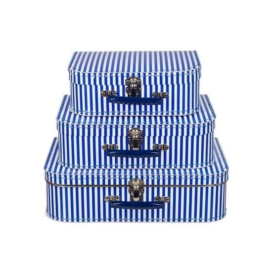 Kinderkamer koffertje blauw met witte strepen 30 cm