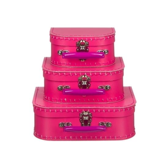 Kinderkamer koffertje fuchsia roze 16 cm