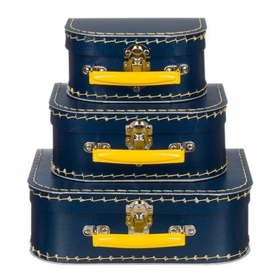 Kinderkamer koffertje navy/geel 25 cm