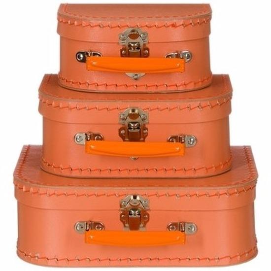 Kinderkamer koffertje pastel oranje 25 cm