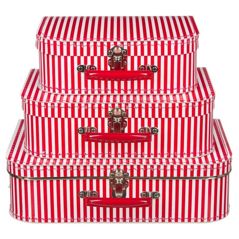 Kinderkamer koffertje rood met witte strepen 25 cm