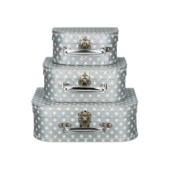 Kinderkoffertje ster zilver 20 cm