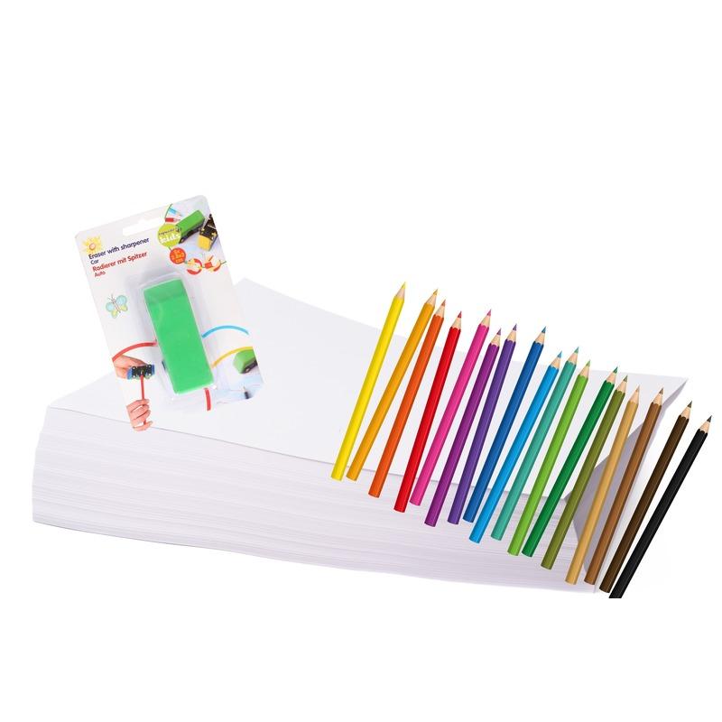 Kleurpakket met papier, potloden en gum/punteslijper