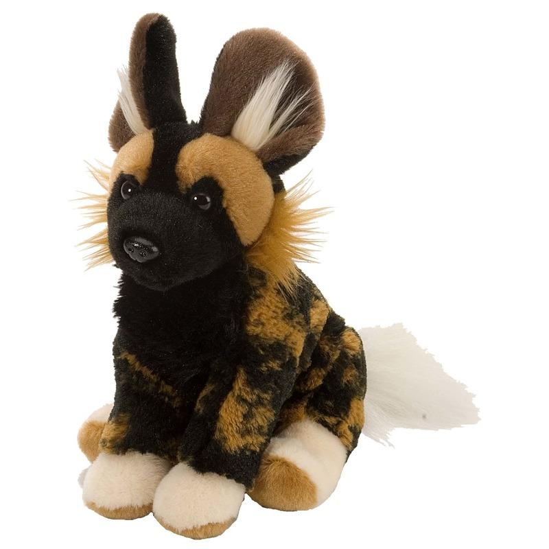 Knuffel speelgoed artikelen Afrikaanse wilde hond knuffelbeest zwart/bruin 20 cm