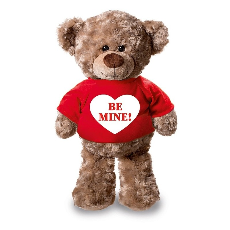Knuffel teddybeer Be Mine hartje rood shirt 24 cm