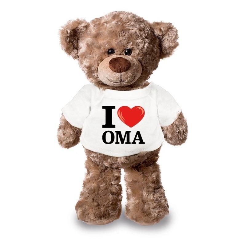 Knuffel teddybeer met I love oma shirt 24 cm