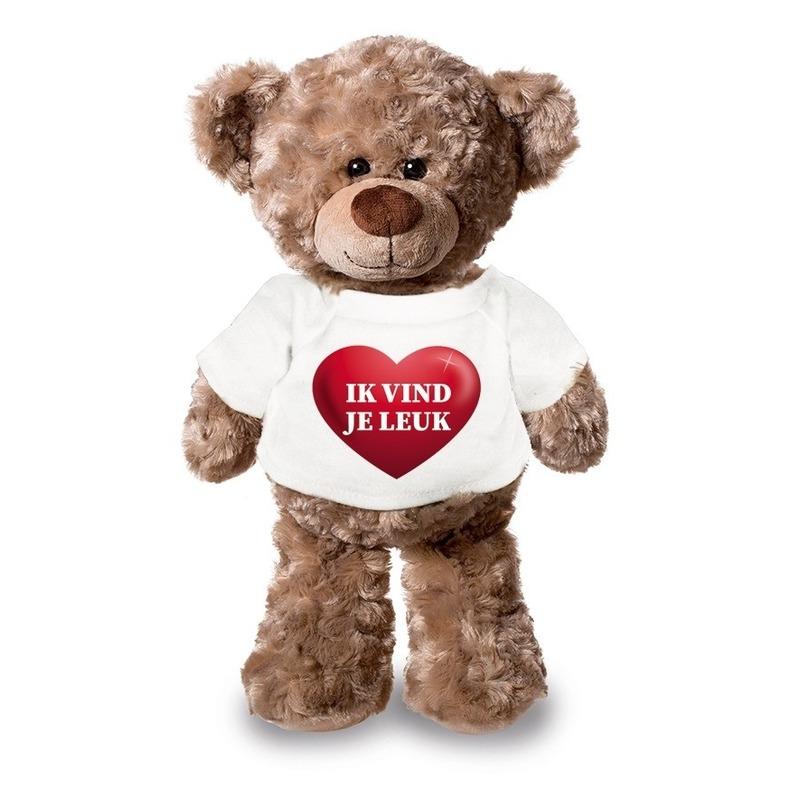Knuffel teddybeer met ik vind je leuk hartje shirt 24 cm