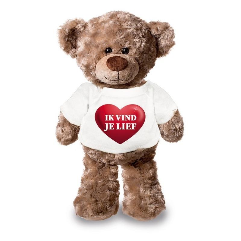Knuffel teddybeer met ik vind je lief hartje shirt 24 cm
