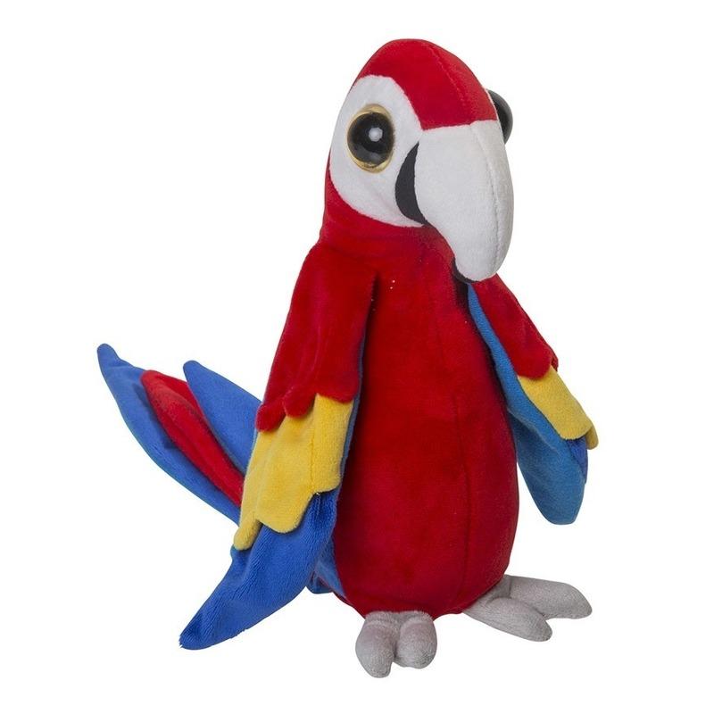 Knuffel vogels papegaai rood 25 cm
