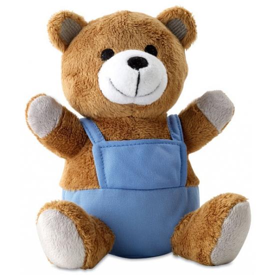 Knuffeldieren beer met blauwe outfit