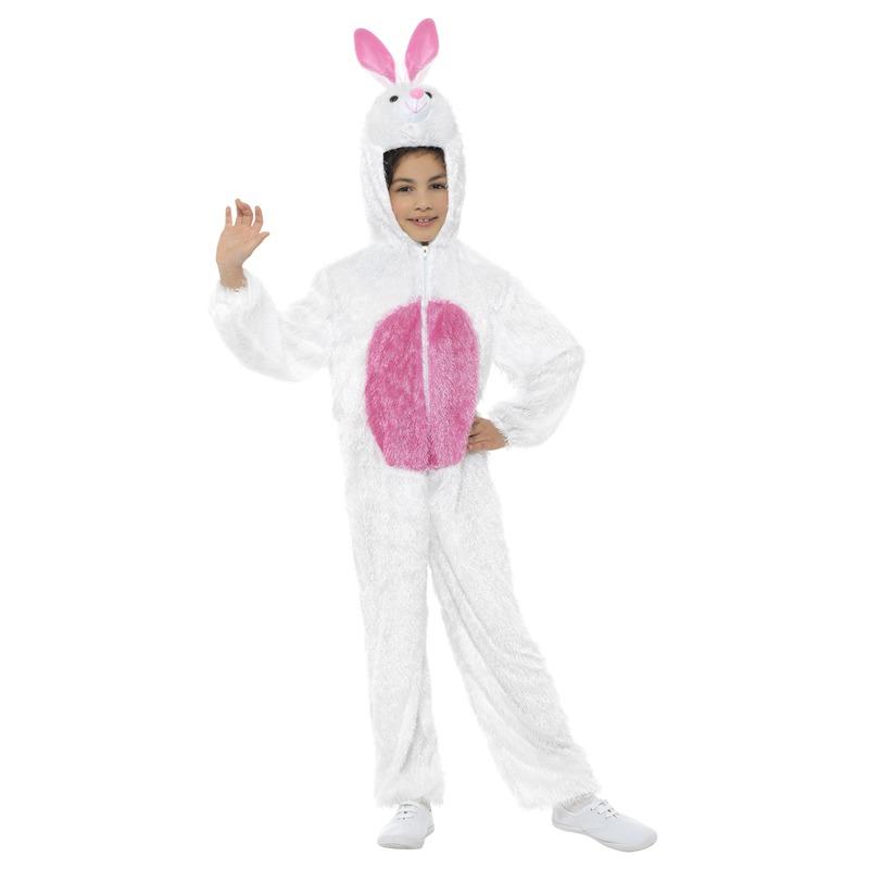 Konijn/haas onesie voor kinderen wit/roze