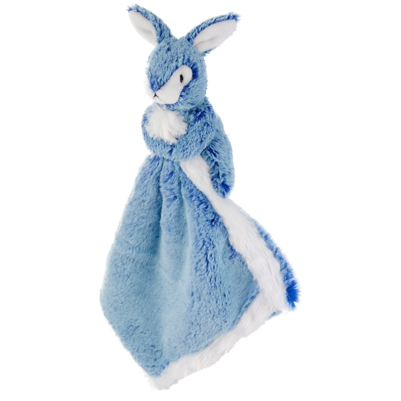 Konijnen/hazen speelgoed artikelen wolf tuttel/knuffeldoek knuffelbeest blauw 25 cm