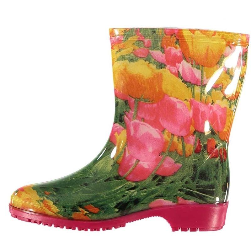 Korte regen kaplaarzen met tulpen motief