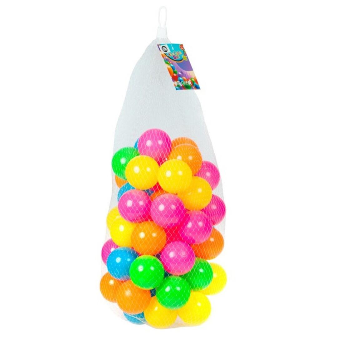 Kunststof ballenbak ballen 50x stuks 6 cm neon kleuren