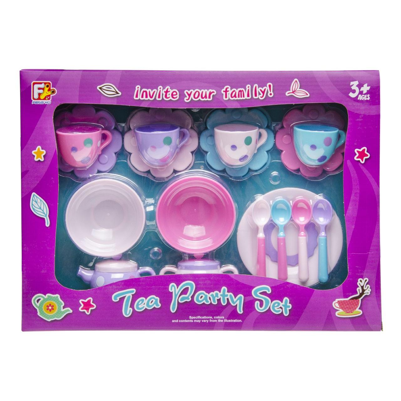 Kunststof mini theeset 17-delig voor kinderen