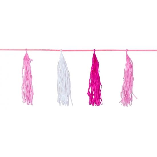 Kwast tassel feestslingers roze 3 meter