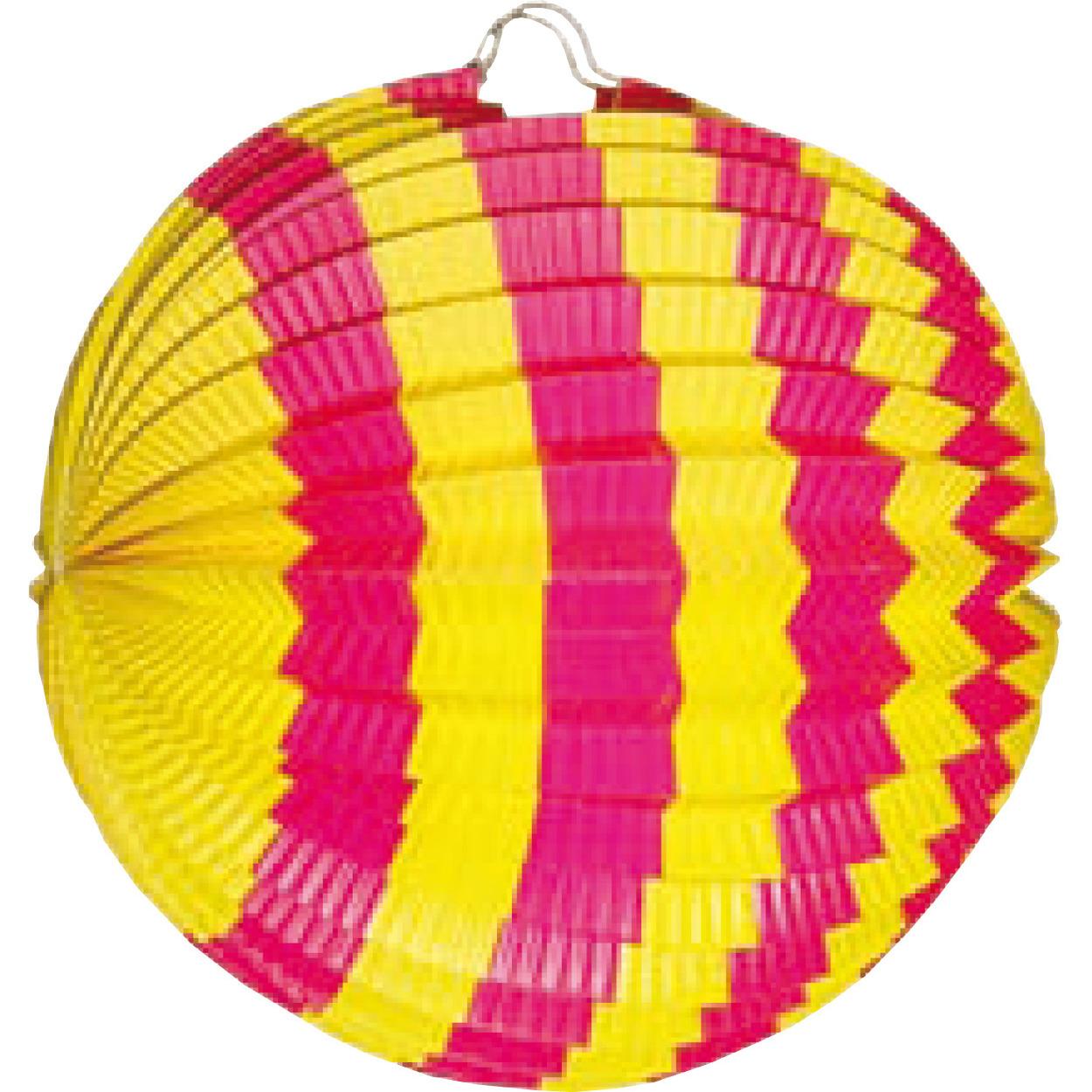 Lampion decoratie roze en geel