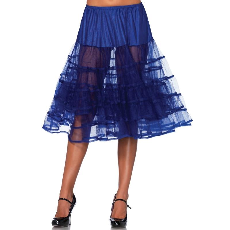 Lange kobalt blauwe 50s onderrok voor dames