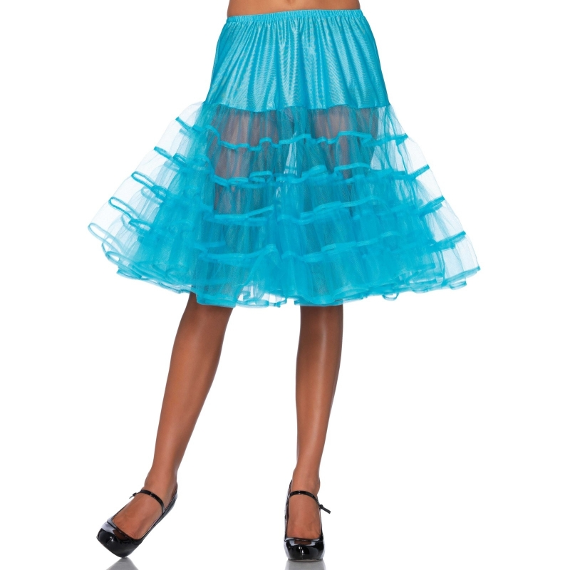 Lange turquoise 50s onderrok voor dames